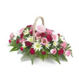 Mix Flowers Flat Round Handle Arrangement