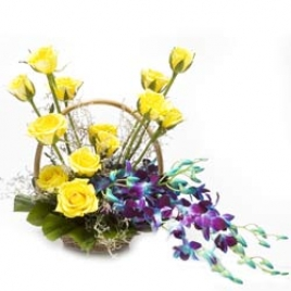Yellow Roses With Blue Orchids