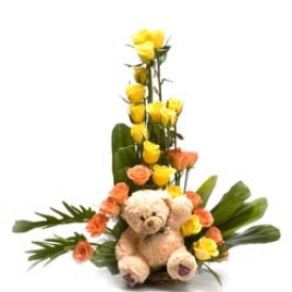 Cute Basket Of Roses And Teddy